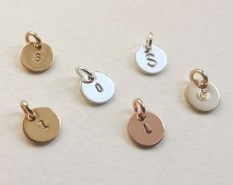 Gold Initial Disc, Sterling silver or rose gold initial disc charm personalised