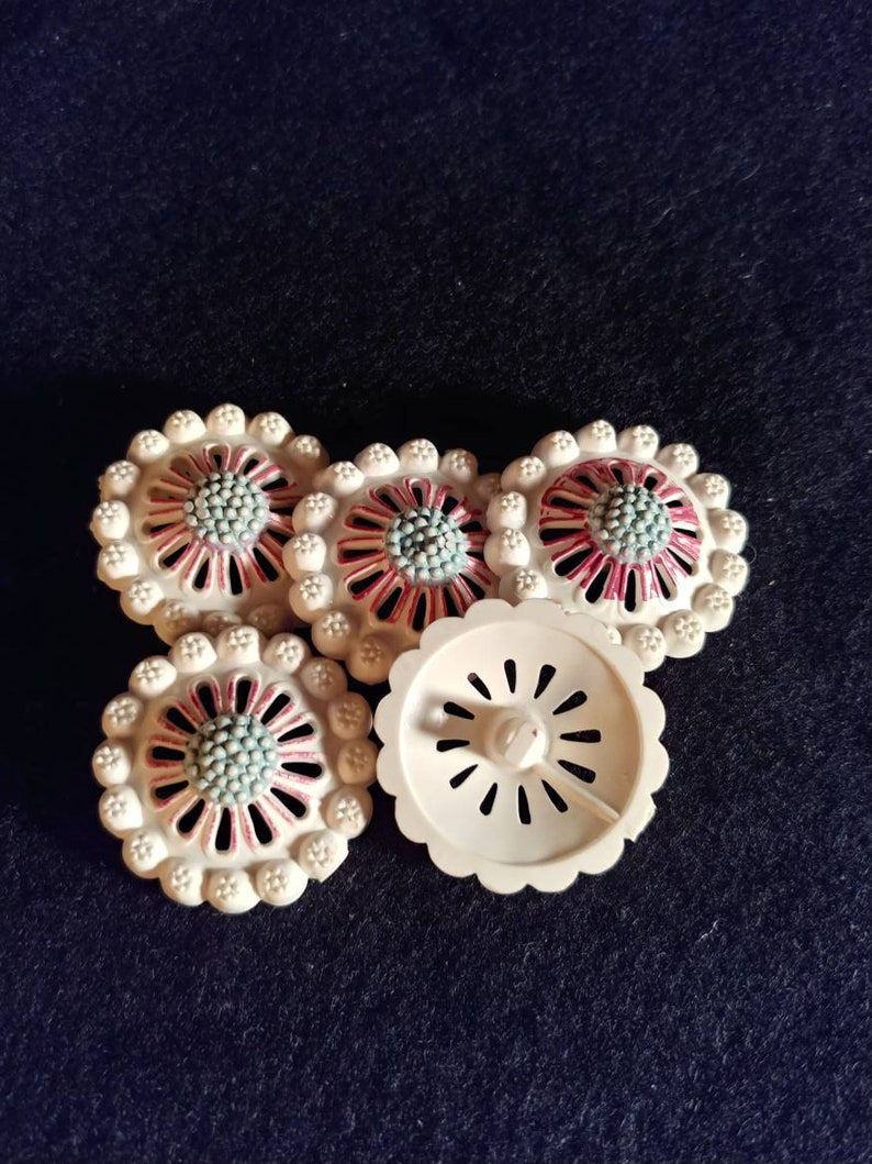 1950s red white and blue Vintage plastic buttons
