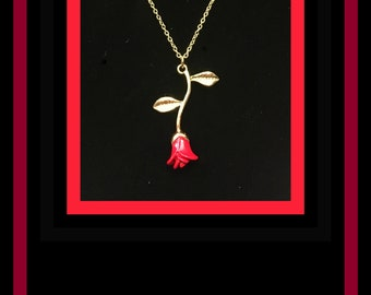 Gold & Red Rose Necklace  (Perfect for Valentine's Day, Mother's Day, Sweetest Day, or Honey I'm Sorry gift!)