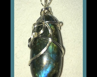 Genuine Labradorite Pendant -  (For Psychic Intuition, Grounding) OOAK!  Wire Wrapped in the USA. Amazing Fiery Stone!