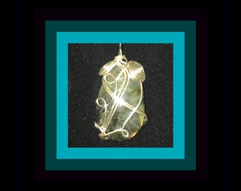 Genuine Labradorite Pendant -  (For Psychic Intuition, Grounding) OOAK!  Hand-Made in the USA. Showy Wrap,  Amazing Stone!