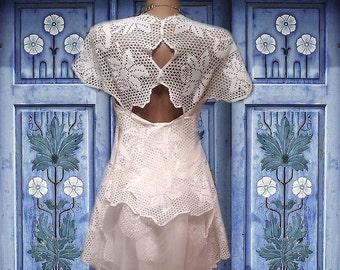 OOAK unique crochet bridal  .boho wedding dress alternative wedding dress