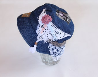 Crazy Denim collage gypsy boho  recycled hat /small size