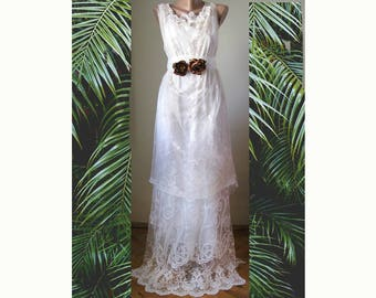 Boho recycled vintage romantic wedding dress. Alternative wedding dress.country wedding dress. ooak bridal