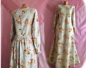 d5089521535c4 Romantic flowered dress/ cotton dress/mori girl dress/boho chic dress/soft  colour dress/shabby chic dress/vintage pattern dress