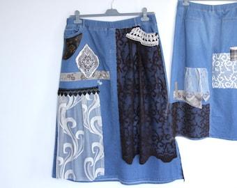 Recycled denim skirt/ XXL denim skirt /boho skirt/altered couture/collage denim skirt/art to wear skirt
