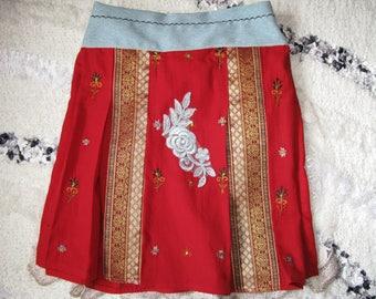 Girls boho skirt/ recycled clothing/red skirt/children skirt/ children boho skirt/ flower skirt/blue flower skirt