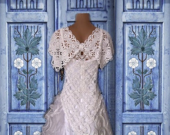 Crochet lace doily wedding dress/OOAK/ alternative wedding dress/ doily wedding dress /Crochet bridal/ beaded