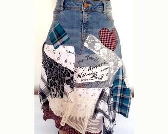 Just Crazy!! denim skirt/altered jeans/Denim collage skirt/patchwork skirt/Hippie skirt/gypsy skirt. Steampunk skirt/tattered
