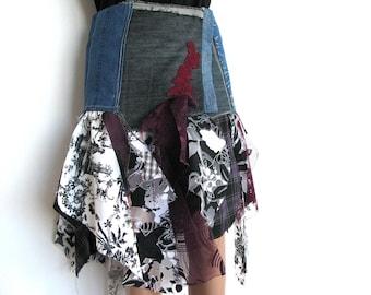 Denim belt/festival belt/recycled denim/hippie belt/altered couture/rag/tattered belt/rag skirt/wraped belt