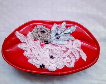 Make up purse.lip purse red clutch fantastik clutch