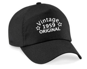 03b98918239a23 60th Birthday Cap, 60th Birthday Gift, 1959 Birthday, Vintage Original 1959