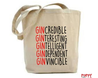 Gin Gift, Gin Bag, Gindependent, Gin Lover Gift, Custom Gift For Her, Gin  Gift Idea, Funny Slogan, Natural Cotton Tote Bag 53f021cf09