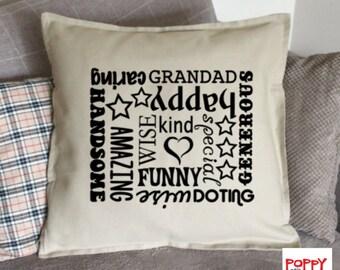 Grandad Gift, Grandad Pillow Cover, Grandad Cushion, Grandfather Gift, Father's Day Gift, Custom Pillow, Decorative Pillow, Throw Pillow.