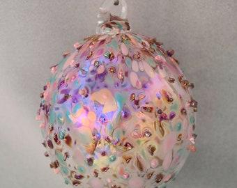 Large Blown Glass Iridescent Ornament Delicate Glass Ornament Fragile Rainbow Blown Glass Ornament