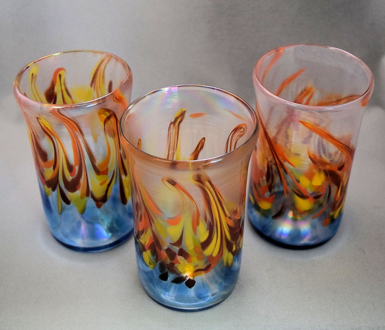 Fire On The Water Tumbler Hand blown Glass Drinking Tumblers Wedding Gift Housewarming Gift Drinking Glasses Drinking Glass