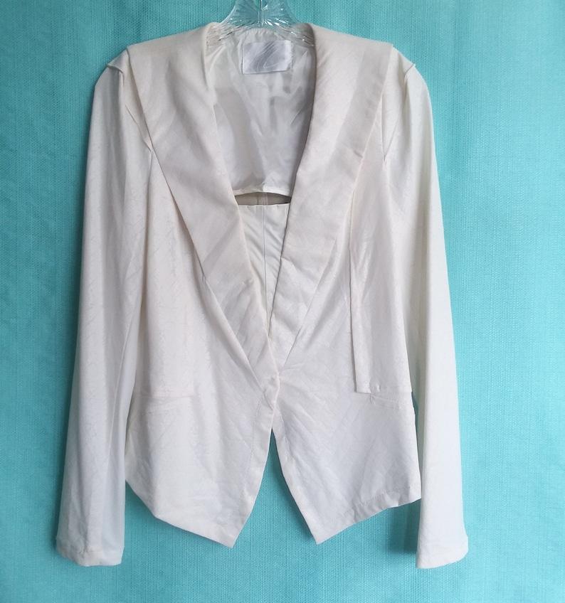 Koko /& Palenki Women\u2019s Light Blazer Jacket Soft Bone White Faux Leather Shawl Collar Top Long Front Size L