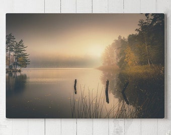 Serene Nature Canvas Art, misty lake wall decor, large modern canvas art, ready to hang calming art, beautiful scenery canvas print