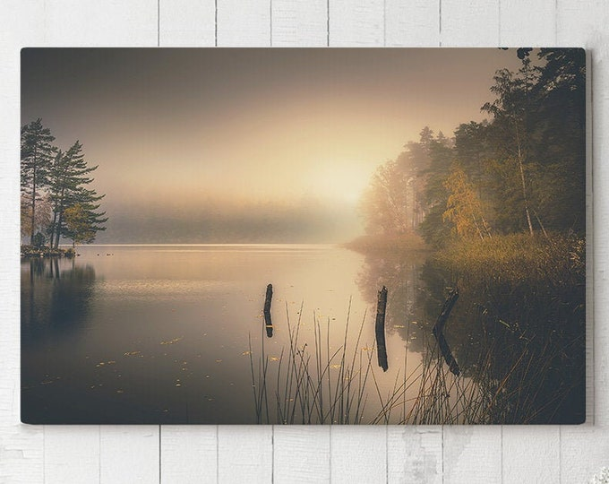 Featured listing image: Serene Nature Canvas Art, misty lake wall decor, large modern canvas art, ready to hang calming art, beautiful scenery canvas print