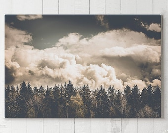 Modern Nature Canvas Art, trees wall decor, large forest and clouds canvas art, ready to hang art, landscape canvas print, wanderlust art