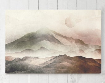 Asian Canvas Art, mountain wall art and wall decor, ready to hang art, modern canvas home decor making a statement