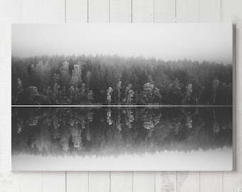 Forest Art Canvas Print, large wall art, black and white nature art, modern canvas art, ready to hang art, woodland art canvas print