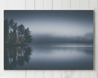 Dreamlike Lake Canvas Art, mystical nature wall decor, modern livingroom canvas art, ready to hang bedroom art, foggy lake canvas print