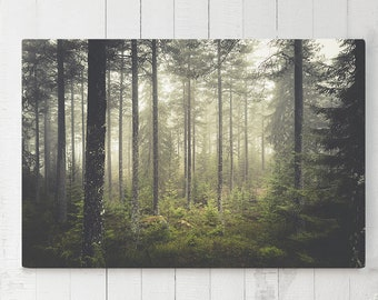 Magical Forest Canvas Art, evergreen woods wall art, large ready to hang canvas, woods wall art and wall decor, nature living room art