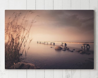 Peaceful Lake Canvas Art, ocean sunrise canvas print, large serene nature wall decor, bedroom canvas art, ready to hang, jetty canvas print