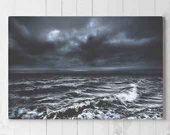Dark Ocean Storm Canvas Art, moody wall decor, modern nautical canvas art, large ready to hang art, waves canvas print