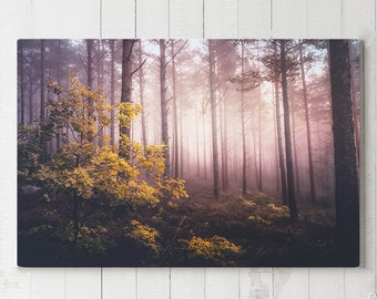 Magical Forest Canvas Art, large wall decor and modern canvas art, ready to hang nature art, colorful forest canvas print