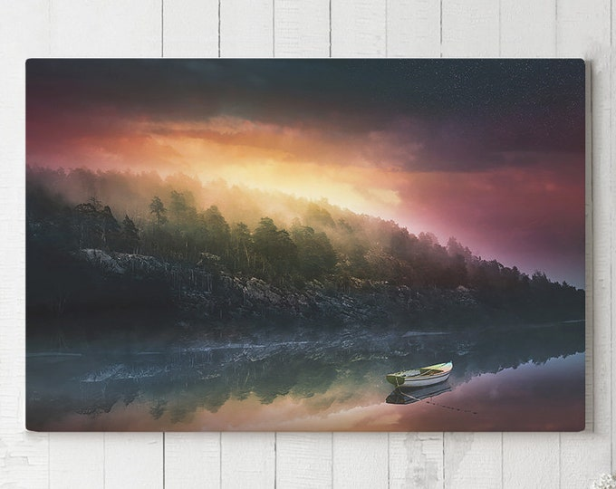 Featured listing image: Colorful Lake Canvas Art, large landscape wall decor, tranquil and modern canvas art, ready to hang nature art, bedroom canvas print