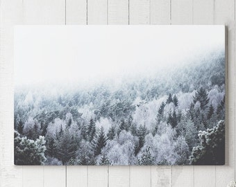 Pine Forest Canvas Art, serene woods wall art and wall decor, ready to hang large canvas print, modern wanderlust home and office art