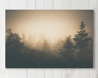 Foggy Woods Canvas Art, forest wall decor, nature canvas art, ready to hang art, modern trees canvas print