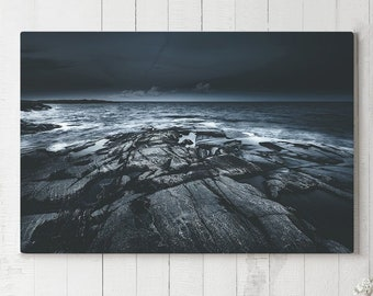 Dark Ocean Canvas Art, large sea wall art and wall decor, ready to hang nautical art, modern home decor making a statement.