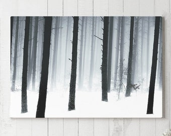 Winter Woods Canvas Art, beautiful forest wall hanging, large modern ready to hang canvas, living room and bedroom nature wall art