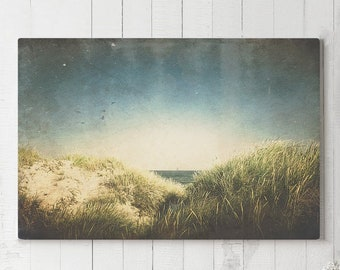 Vintage Beach Canvas Art, summer living room wall art, office nature wall hanging, ready to hang modern canvas, large bedroom wall decor