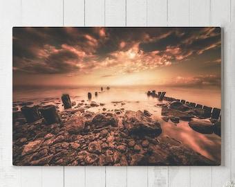 Magical Ocean Canvas Art, colorful nautical wall decor, large modern canvas art, ready to hang wall art, beach sunset canvas print