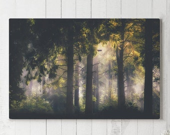 Glowing Forest Canvas Print, trees wall art and wall decor, ready to hang canvas art, modern wall hanging making a statement.