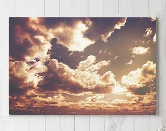 Clouds Canvas Art, cloudscape wall decor, modern home canvas art, ready to hang art, colorful canvas print, big sky wall art