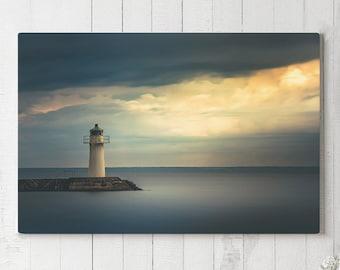 Lighthouse Canvas Art, nautic sunset wall decor, modern photo canvas art, large ready to hang art, emotional canvas print, ocean sunset art