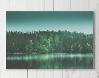 Evergreen Forest Canvas Art, nature wall decor and wall art, ready to hang forest canvas, unique home decor making a statement