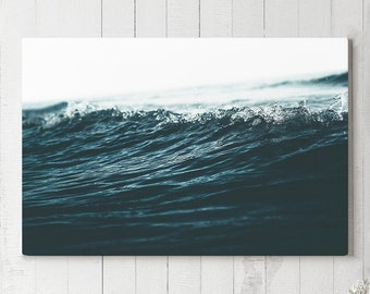 Wave Canvas Art, ocean wall art and wall decor, ready to hang nautical living room canvas, modern home and office wall hanging