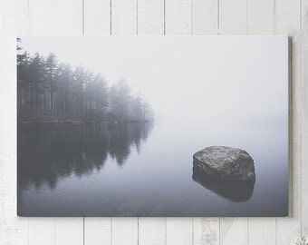 Misty Lake Canvas Art, mystical nature wall art, modern and serene canvas art, ready to hang landscape art, nature scenery canvas print