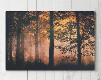 Enchanted Forest Canvas Art, living room woods wall hanging, large bedroom canvas print.