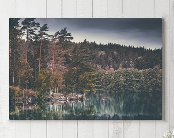 Lake Scenery Canvas Art, nature landscape wall decor, modern photo canvas art, ready to hang art, scenic canvas print, living room canvas