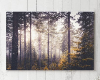 Magical Forest Canvas Art, large evergreen wall hanging, modern woods canvas art, ready to hang nature art, colorful wall canvas print