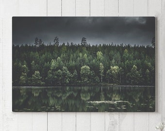 Evergreen Canvas Art, forest wall art and wall decor, ready to hang art, nature wall hanging making a statement.