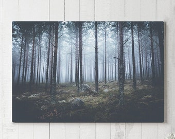 Moody Forest Canvas Art, wanderlust wall decor, modern nature canvas art, ready to hang art, dark woods canvas print, livingroom canvases