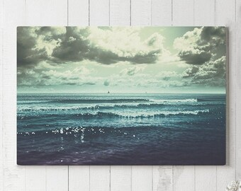Ocean Canvas Art, sea canvas art and nautical wall decor, ready to hang canvas, beach house decor making a statement.